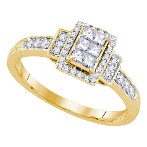 14kt Yellow Gold Womens Princess Diamond Cluster Bridal Wedding Engagement Ring 3/8 Cttw