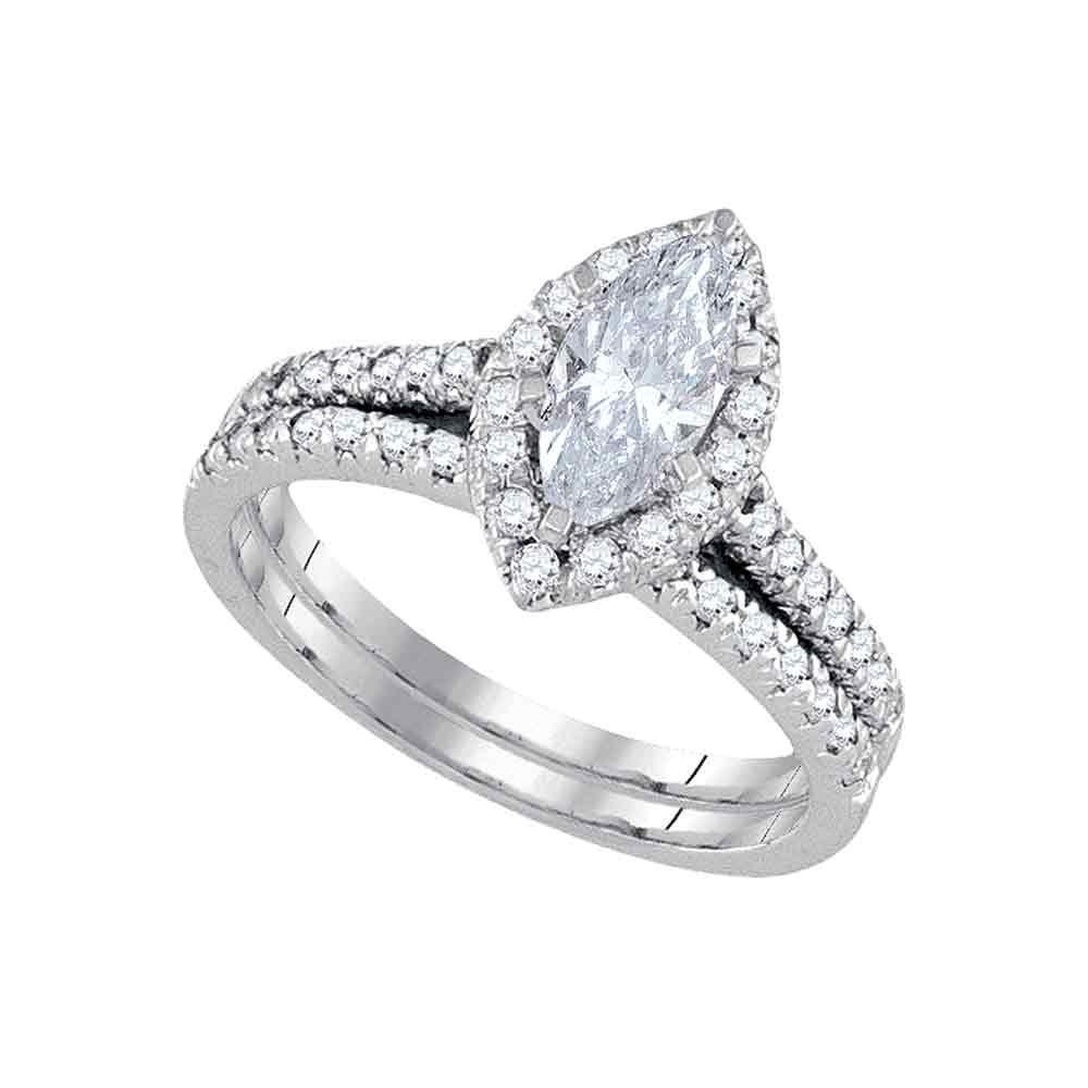 14kt White Gold Womens Marquise Diamond Halo Bridal Wedding Engagement Ring Band Set 1-1/5 Cttw
