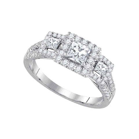 14k White Gold Womens Princess Diamond 3-stone Bridal Wedding Engagement Ring 1.00 Cttw