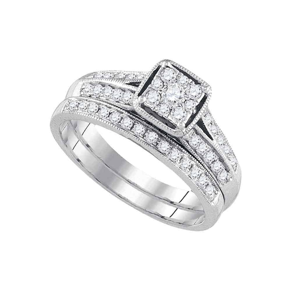 14kt White Gold Womens Round Diamond Bridal Wedding Engagement Ring Band Set 1/2 Cttw