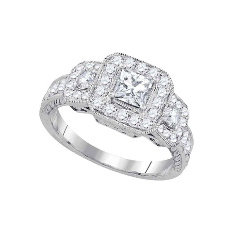 14kt White Gold Womens Princess Diamond 3-stone Bridal Wedding Engagement Ring 1-1/2 Cttw