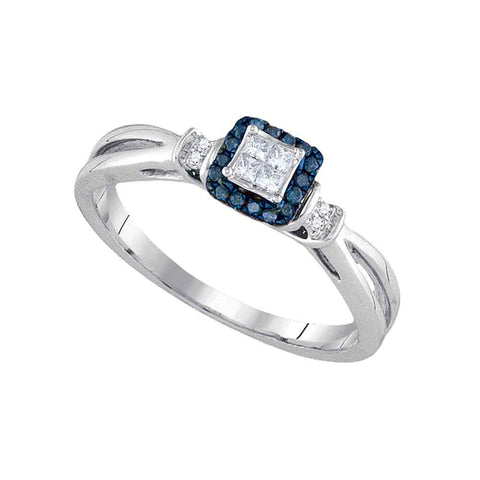 14kt White Gold Womens Princess Blue Color Enhanced Diamond Fashion Ring 1/6 Cttw