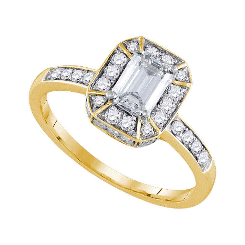 14kt Yellow Gold Womens Emerald Diamond Solitaire Bridal Wedding Engagement Ring 1.00 Cttw