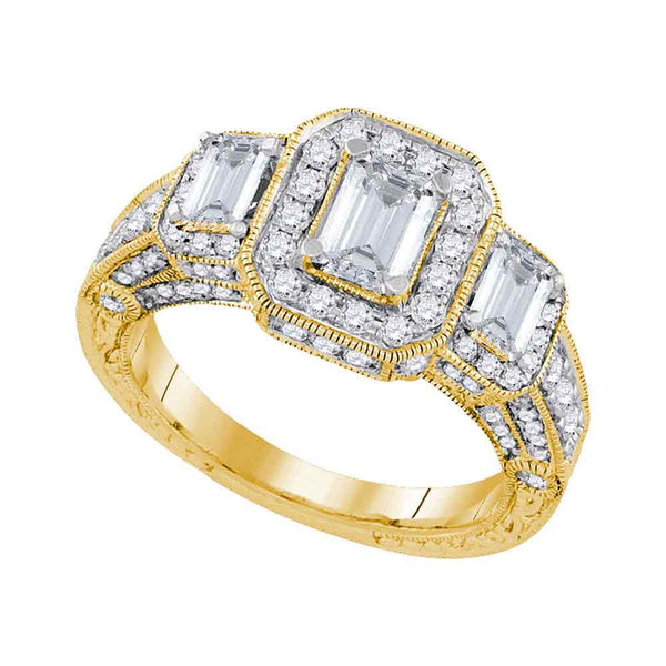 14kt Yellow Gold Womens Emerald Diamond 3-stone Bridal Wedding Engagement Ring 2.00 Cttw