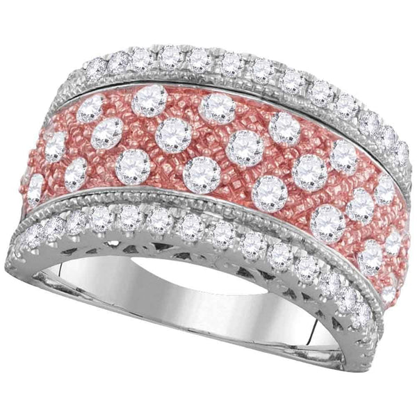 14kt White Gold Womens Round Diamond 2-tone Rose Pink Band Ring 1-1/2 Cttw