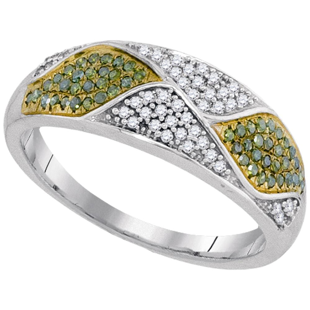10kt White Gold Womens Round Green Color Enhanced Diamond Fashion Band Ring 1/4 Cttw