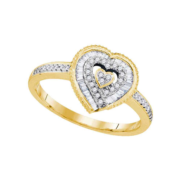 10kt Yellow Gold Womens Round Diamond Heart Love Ring 1/4 Cttw