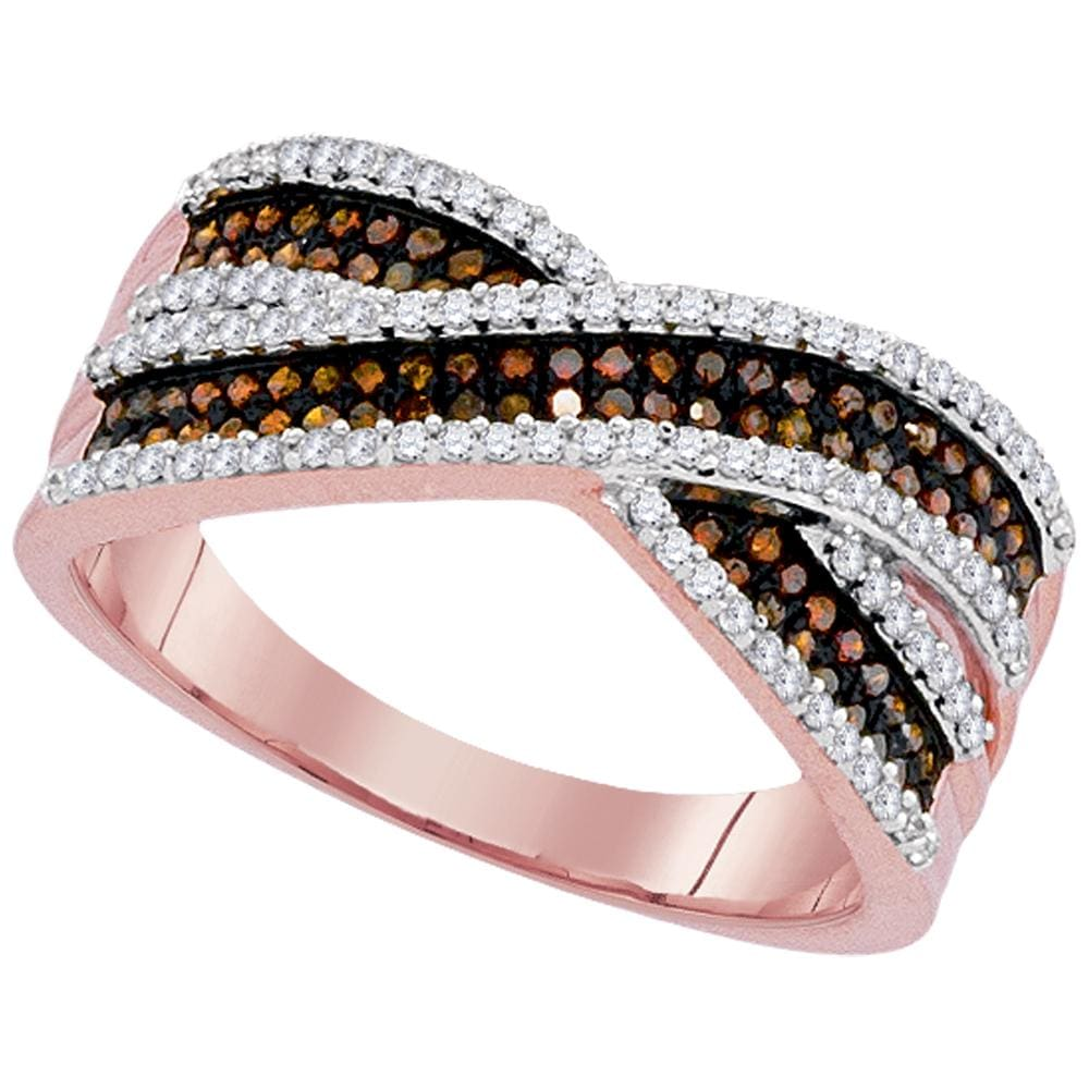 10kt Rose Gold Womens Round Red Color Enhanced Diamond Crossover Band Ring 1/2 Cttw