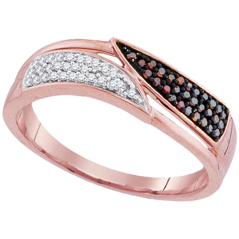 10kt Rose Gold Womens Round Red Color Enhanced Diamond Bypass Band Ring 1/6 Cttw