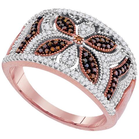 10kt Rose Gold Womens Round Red Color Enhanced Natural Diamond Band Ring 3/8 Cttw