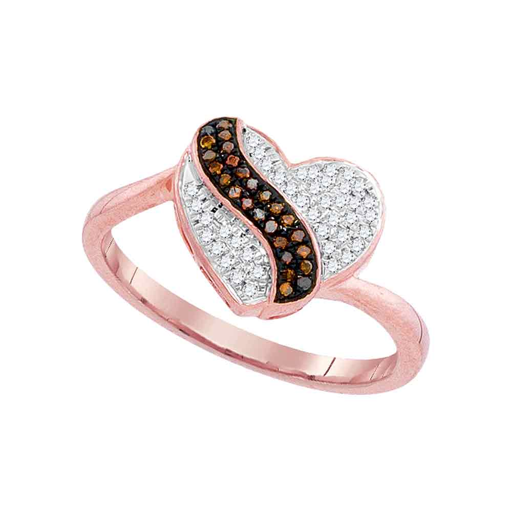 10kt Rose Gold Womens Round Red Color Enhanced Diamond Heart Stripe Cluster Ring 1/6 Cttw