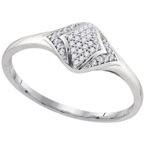 10kt White Gold Womens Round Diamond Cluster Fashion Ring 1/10 Cttw