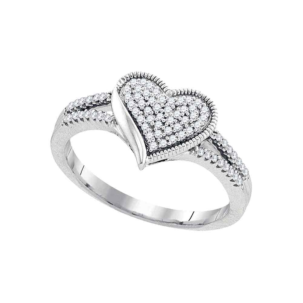 10kt White Gold Womens Round Diamond Milgrain Heart Cluster Ring 1/5 Cttw