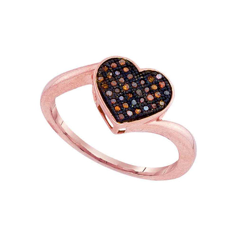 10kt Rose Gold Womens Round Red Color Enhanced Diamond Heart Love Ring 1/10 Cttw
