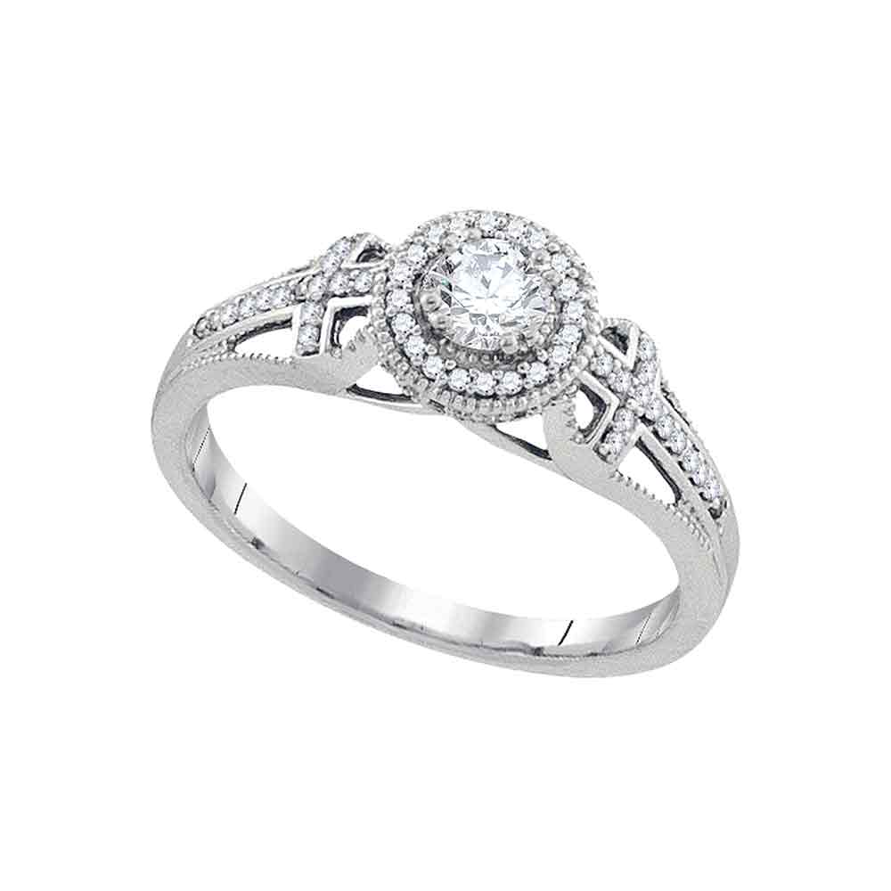 10k White Gold Womens Round Diamond Bridal Wedding Engagement Anniversary Ring 3/8 Cttw