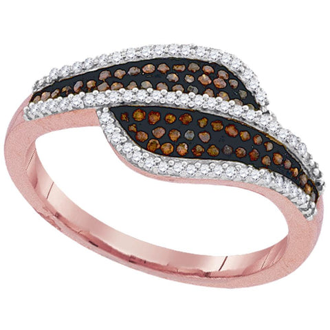 10kt Rose Gold Womens Round Red Color Enhanced Diamond Bypass Band Ring 1/3 Cttw