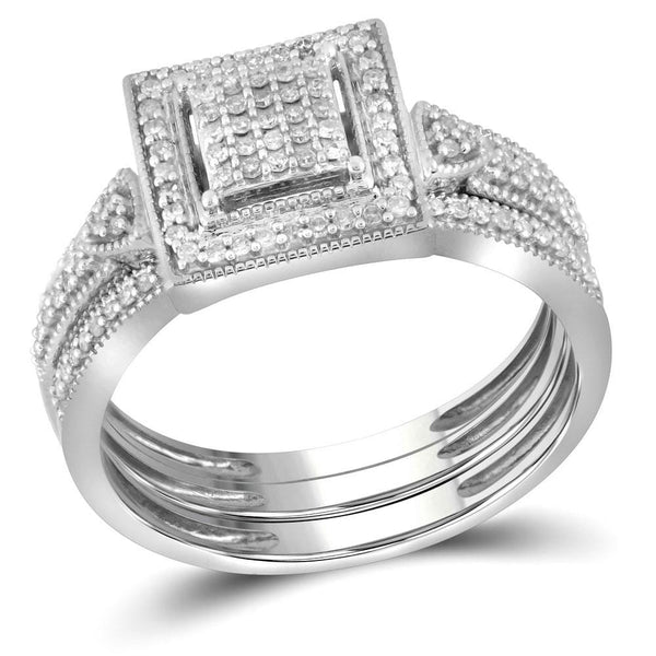 10kt White Gold Womens Diamond Square 3-Piece Bridal Wedding Engagement Ring Band Set 1/3 Cttw