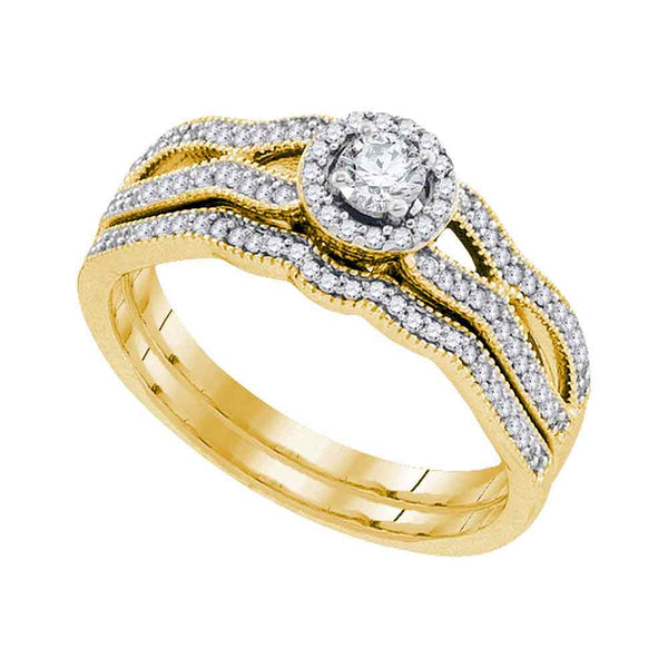 10kt Yellow Gold Womens Round Diamond Milgrain Bridal Wedding Engagement Ring Band Set 3/8 Cttw