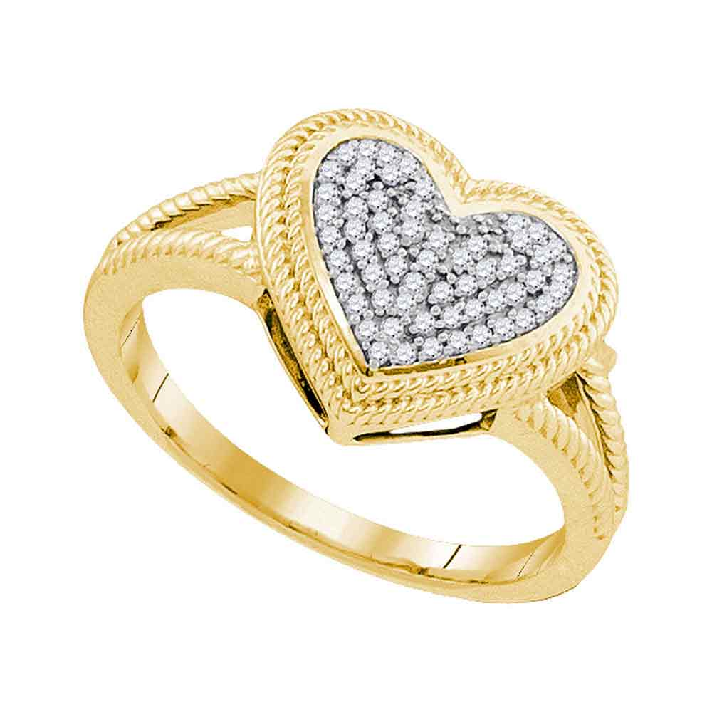 10kt Yellow Gold Womens Round Diamond Rope Heart Love Cluster Ring 1/6 Cttw