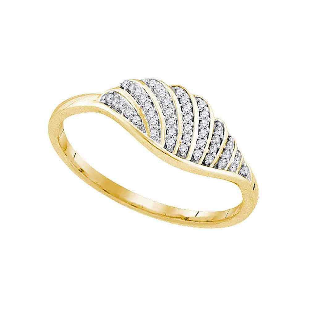 10kt Yellow Gold Womens Round Diamond Fashion Ring 1/10 Cttw