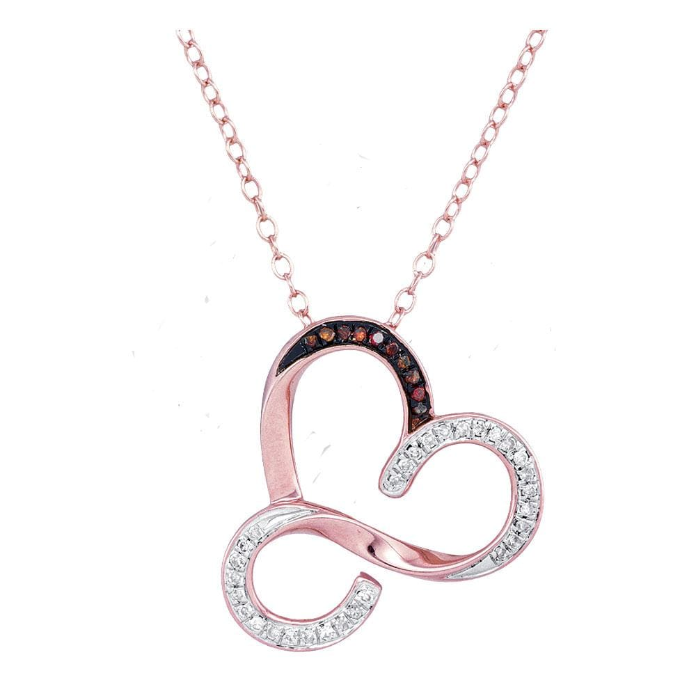 10kt Rose Gold Womens Round Red Color Enhanced Diamond Heart Love Pendant Necklace 1/8 Cttw