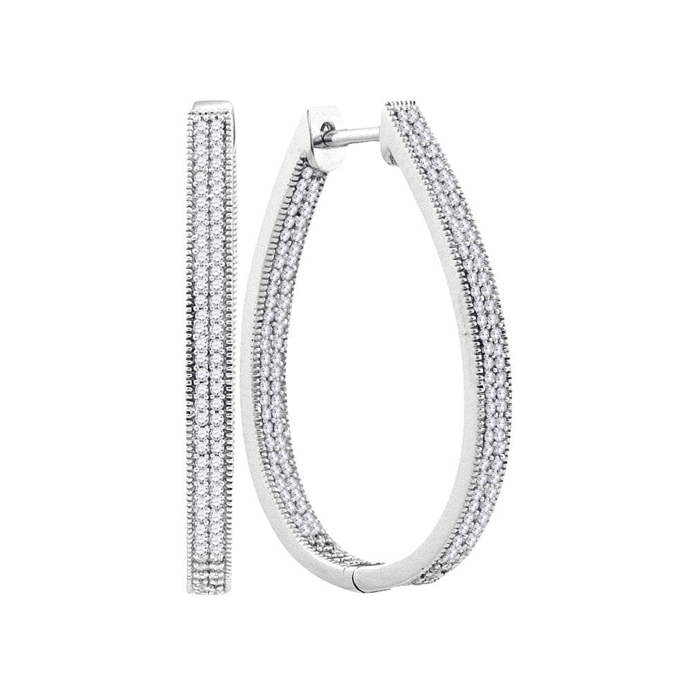 10kt White Gold Womens Round Diamond Oval Hoop Earrings 1.00 Cttw
