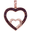 10kt Rose Gold Womens Round Red Color Enhanced Diamond Nested Double Heart Pendant 1/8 Cttw