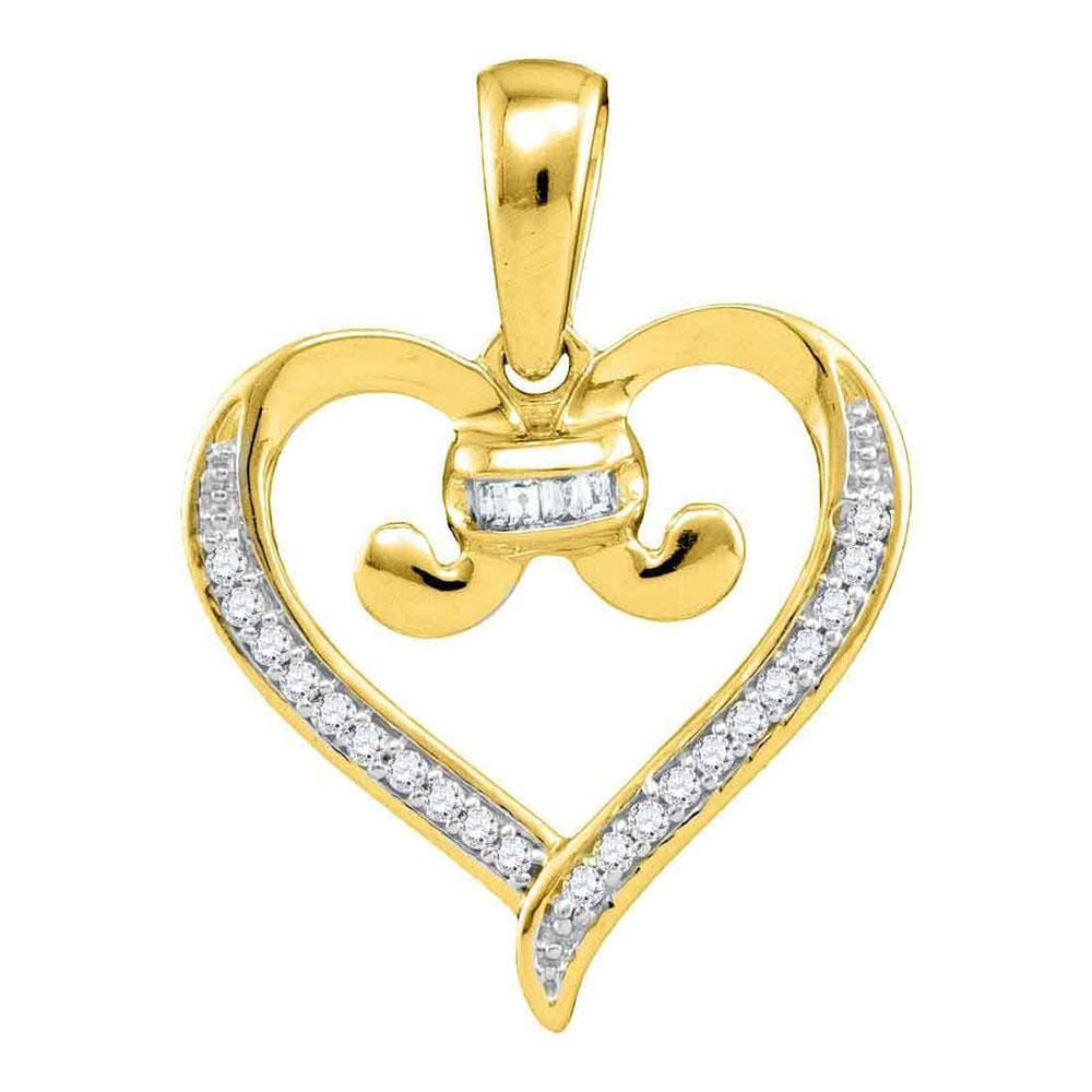 10kt Yellow Gold Womens Diamond Bound Tied Heart Pendant 1/12 Cttw