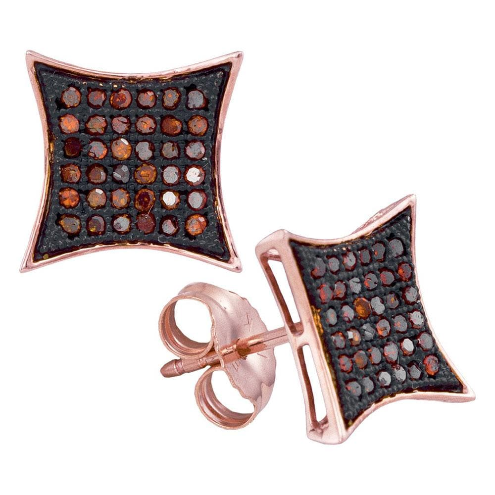 10kt Rose Gold Womens Round Red Color Enhanced Diamond Square Kite Cluster Earrings 1/5 Cttw