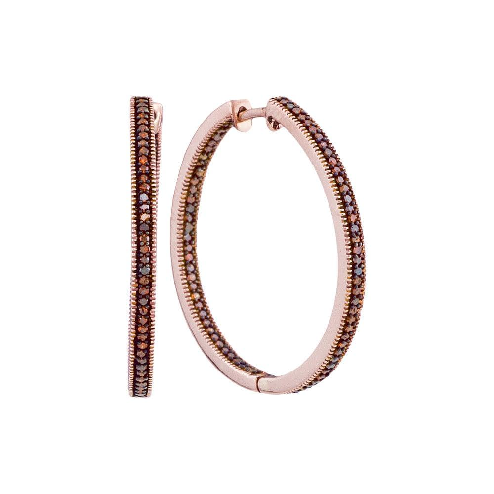 10kt Rose Gold Womens Round Red Color Enhanced Diamond Hoop Earrings 1/2 Cttw