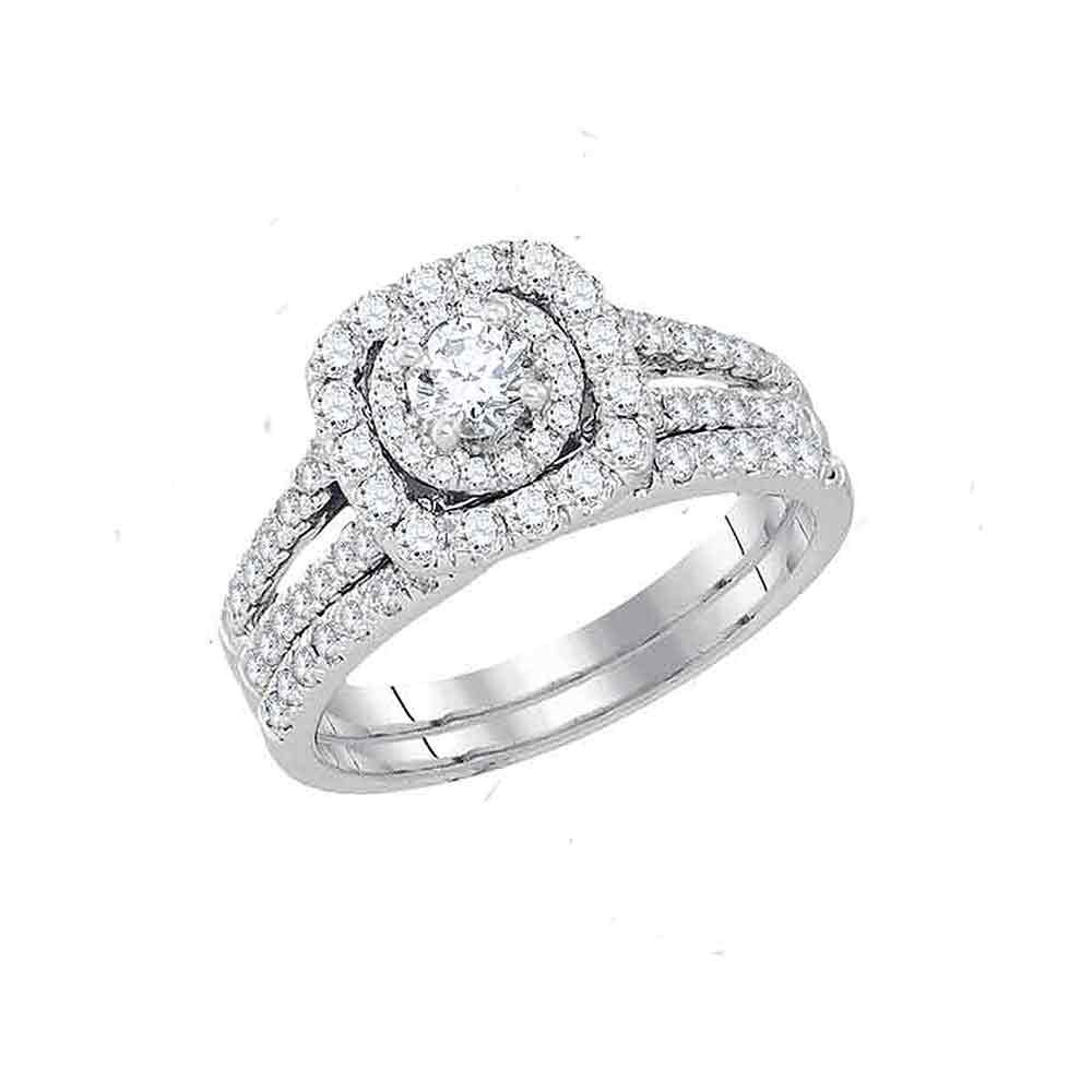 14kt White Gold Womens Round Diamond Bridal Wedding Engagement Ring Band Set 1-1/2 Cttw