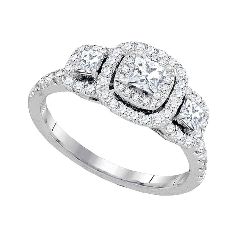 14kt White Gold Princess Diamond 3-stone Bridal Wedding Engagement Ring 1 Cttw