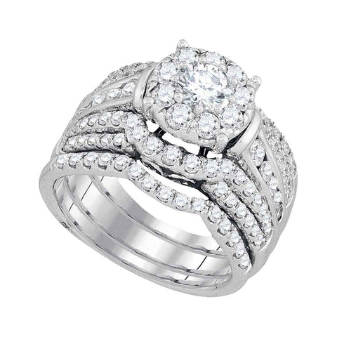 14kt White Gold Womens Round Diamond Halo Bridal Wedding Engagement Ring Band Set 2-3/8 Cttw