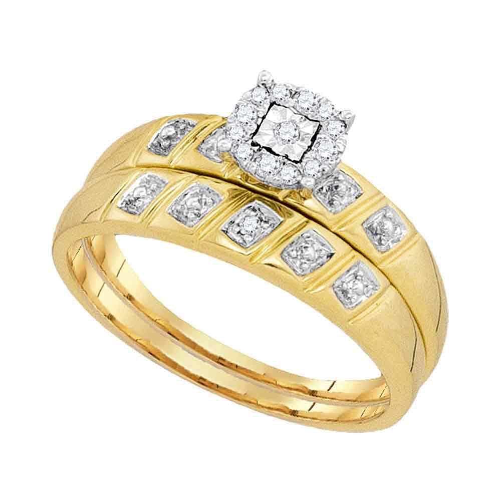10kt Yellow Gold His Hers Round Diamond Solitaire Matching Wedding Set 1/10 Cttw