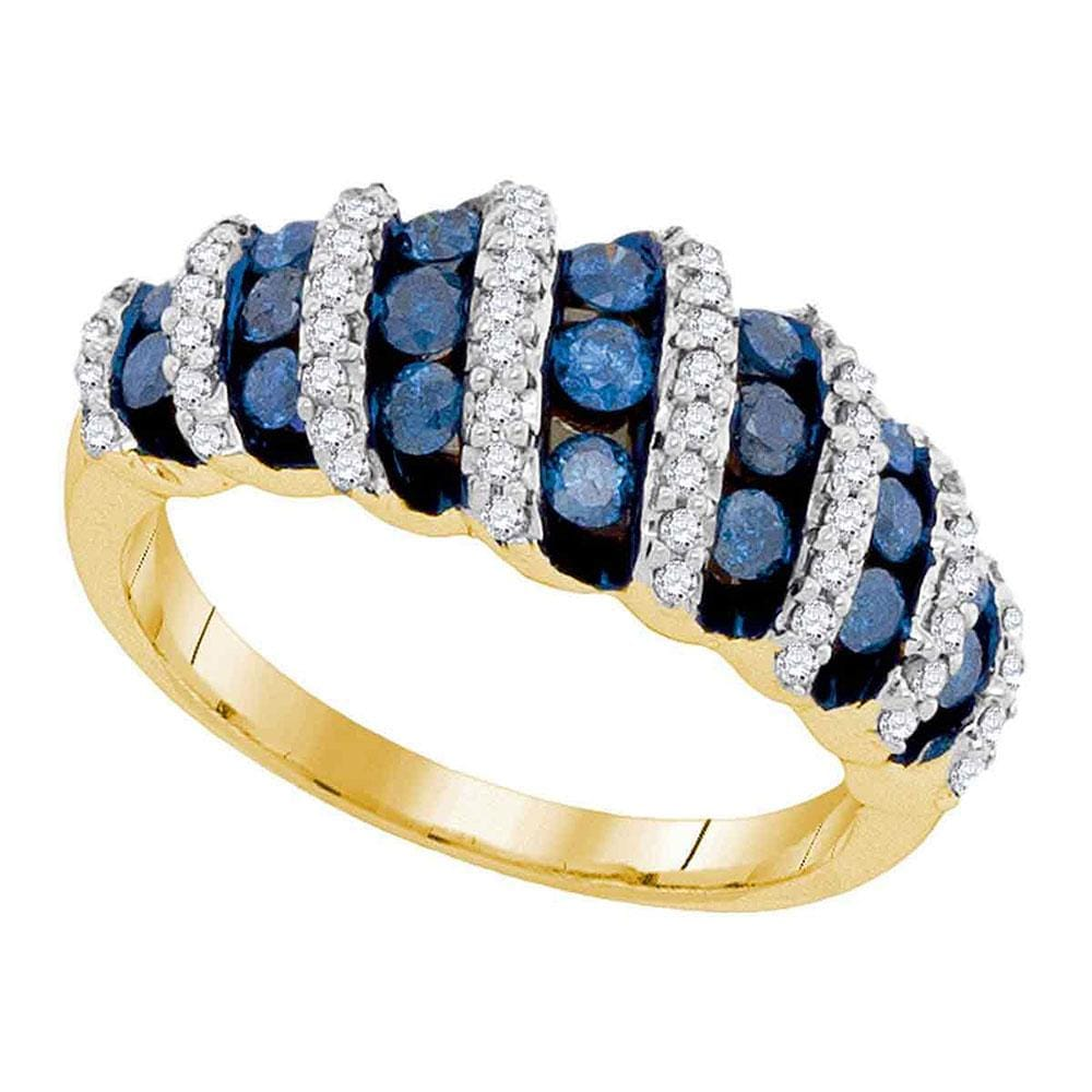10kt Yellow Gold Womens Round Blue Color Enhanced Diamond Fashion Ring 1.00 Cttw