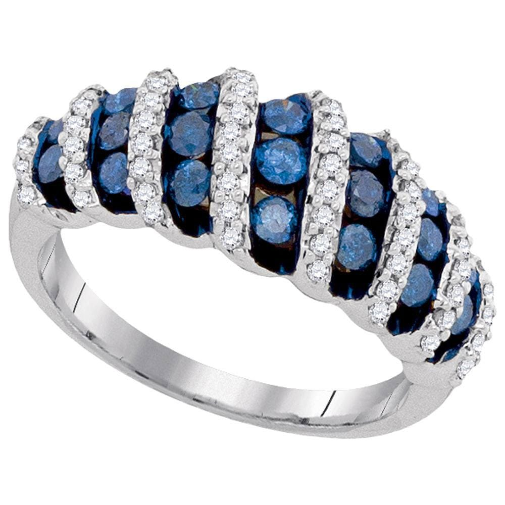 10kt White Gold Womens Round Blue Color Enhanced Diamond Fashion Ring 1.00 Cttw