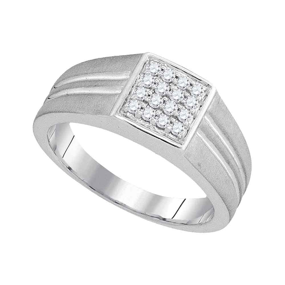 10kt White Gold Mens Round Diamond Matte-finish Square Cluster Ring 1/4 Cttw