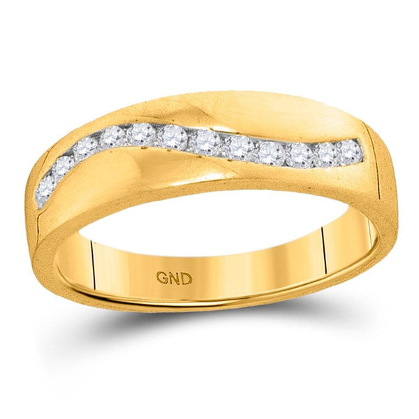 10kt Yellow Gold Mens Round Diamond Wedding Band Ring 1/4 Cttw