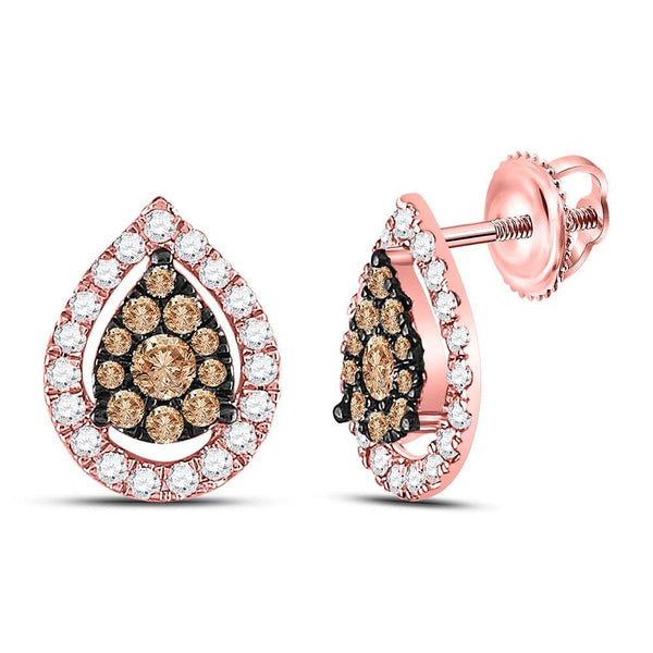 14kt Rose Gold Womens Round Brown Diamond Teardrop Cluster Earrings 3/4 Cttw