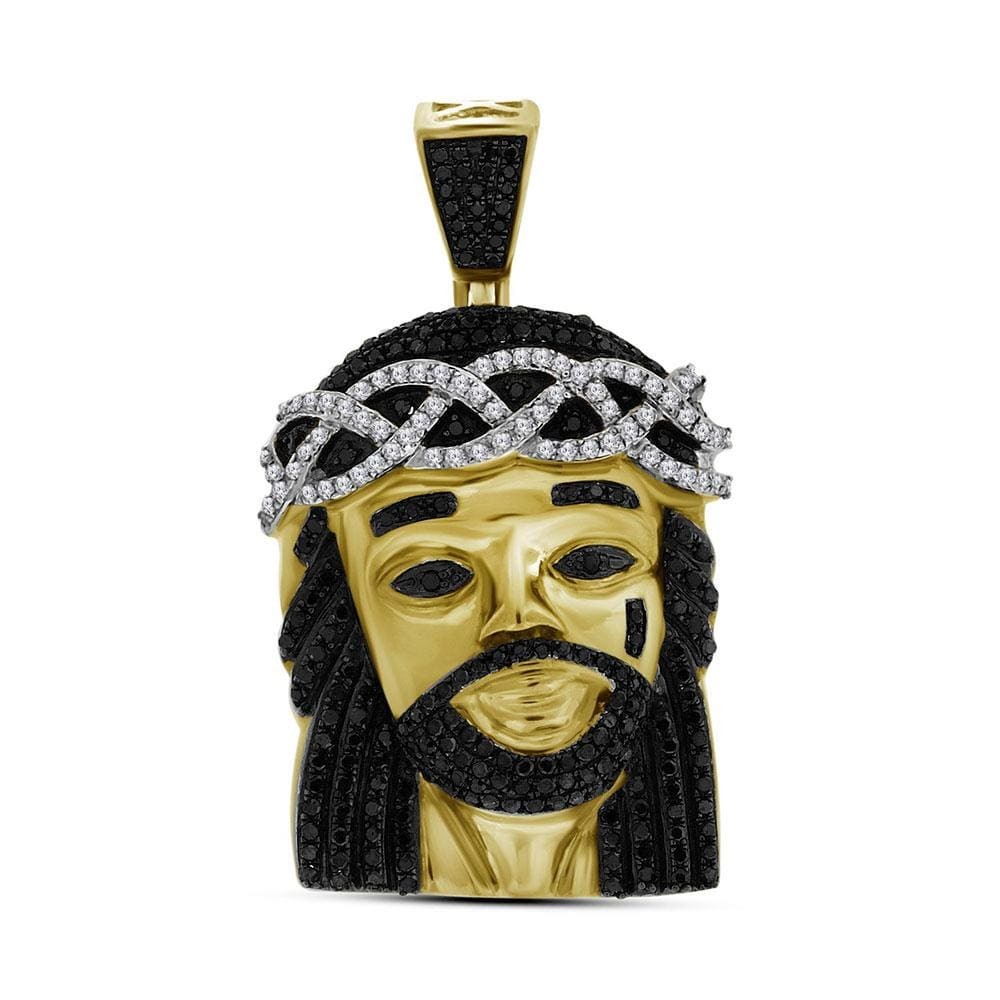 10kt Yellow Gold Mens Round Black Color Enhanced Diamond Jesus Face Charm Pendant 1 Cttw
