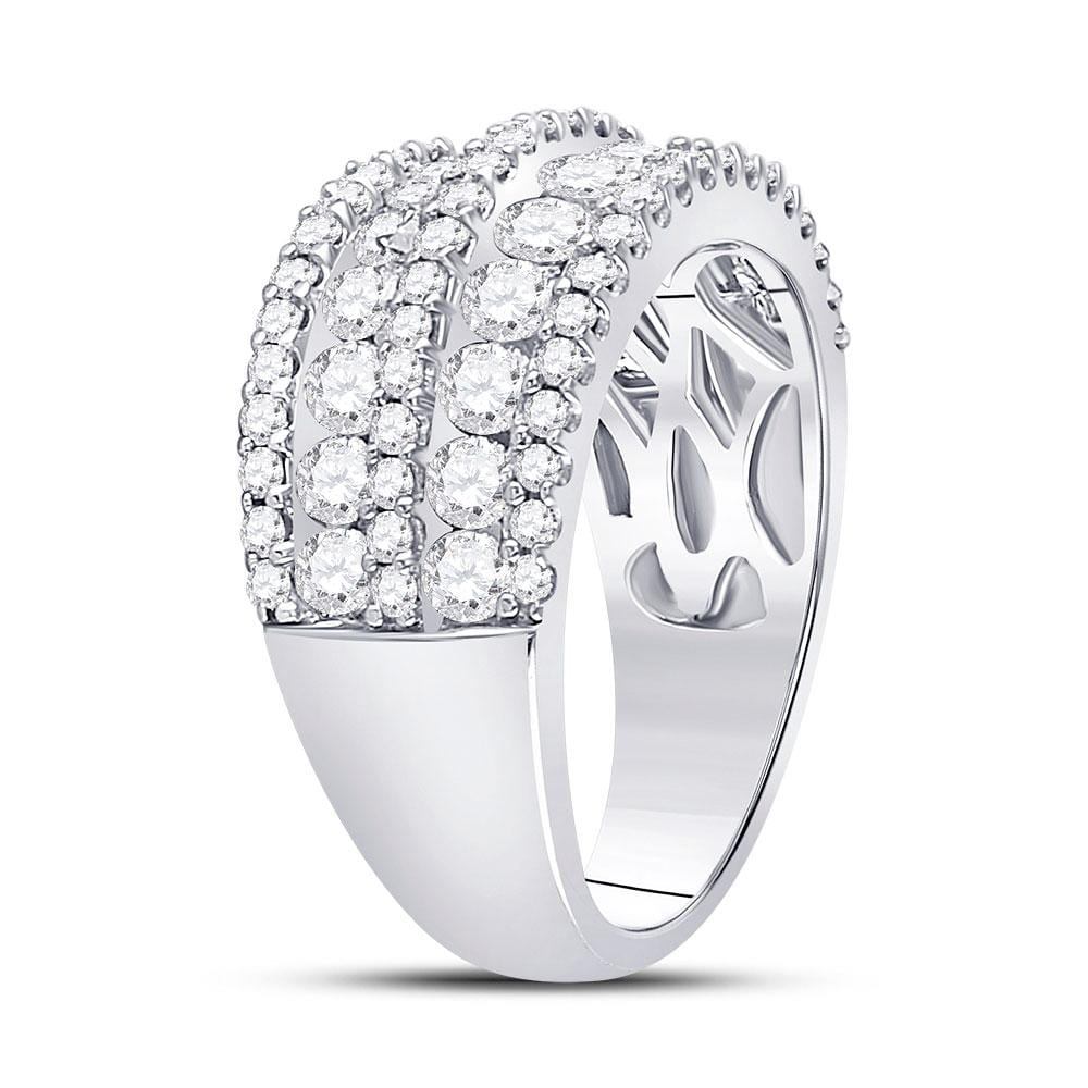 14kt White Gold Womens Round Diamond Five Row Band Ring 2.00 Cttw