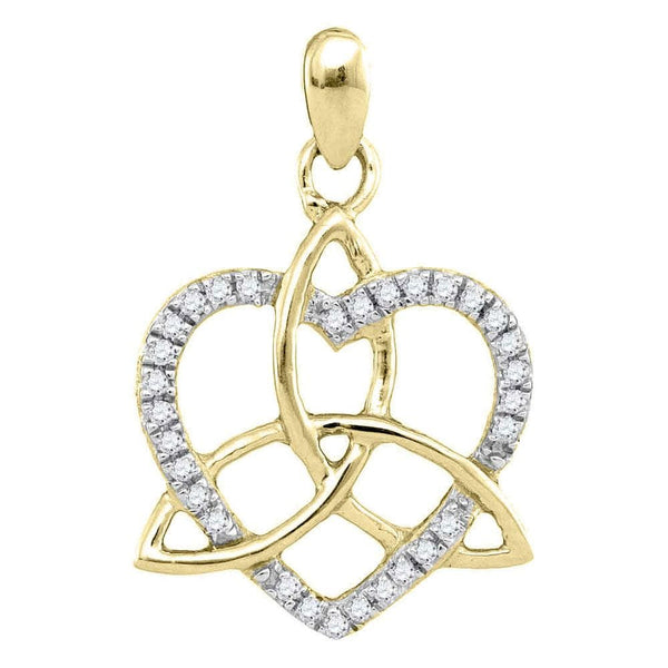 10kt Yellow Gold Womens Round Diamond Triquetra Heart Pendant 1/10 Cttw