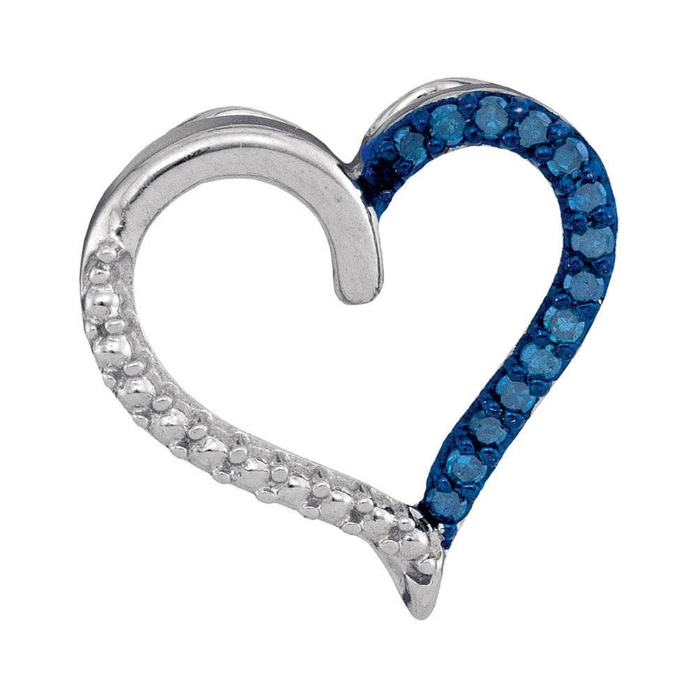 Sterling Silver Womens Round Blue Color Enhanced Diamond Heart Outline Pendant 1/10 Cttw