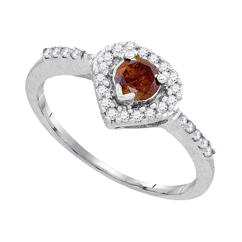10kt White Gold Womens Round Brown Color Enhanced Diamond Heart Ring 1/2 Cttw