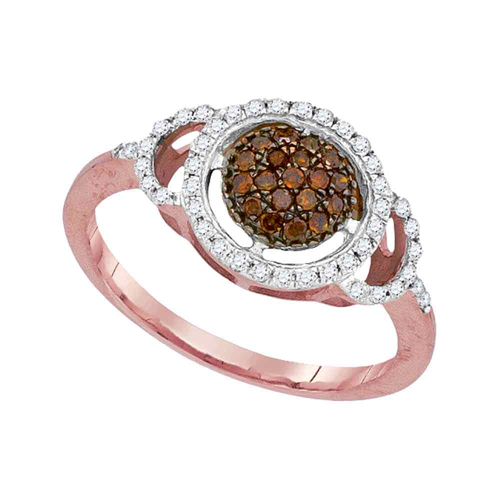 10kt Rose Gold Womens Round Red Color Enhanced Diamond Circle Frame Cluster Ring 1/3 Cttw
