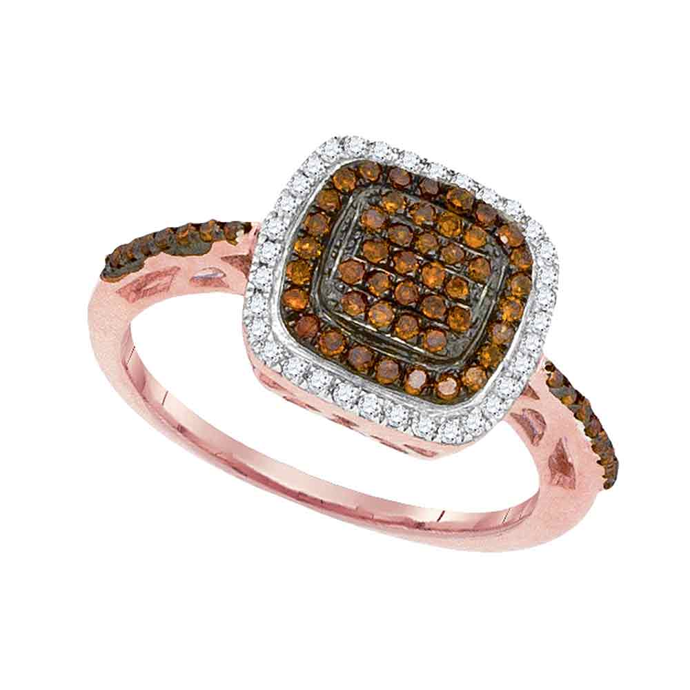 10kt Rose Gold Womens Round Red Color Enhanced Diamond Square Frame Ring 1/3 Cttw