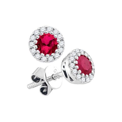 14kt White Gold Womens Round Ruby Solitaire Diamond Stud Earrings 5/8 Cttw