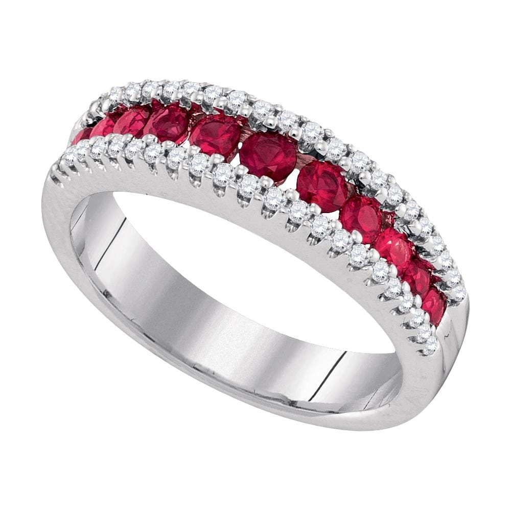 14kt White Gold Womens Round Ruby Diamond Triple Row Band Ring 7/8 Cttw