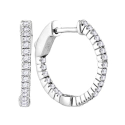 14kt White Gold Womens Round Diamond Single Row Hoop Earrings 1/3 Cttw