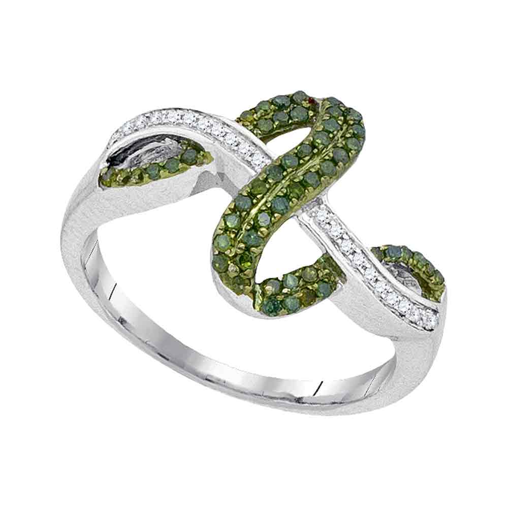 10kt White Gold Womens Round Green Color Enhanced Diamond Fashion Ring 1/4 Cttw